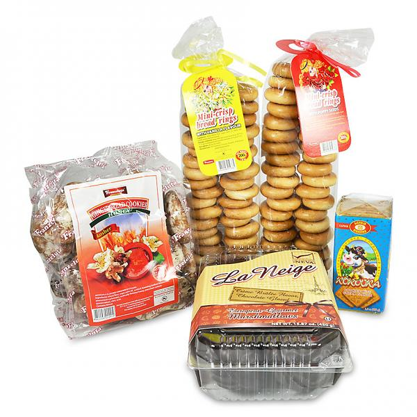 Gourmet Baked Goods Gift Set of 5: Marshmallow, Gingerbread, Dry Rings
