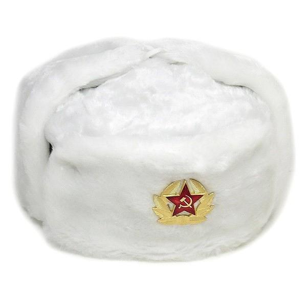 Russian Soviet Army Fur Military Cossack Ushanka Hat with Soviet Army Soldier Insignia, White, 60-62/L