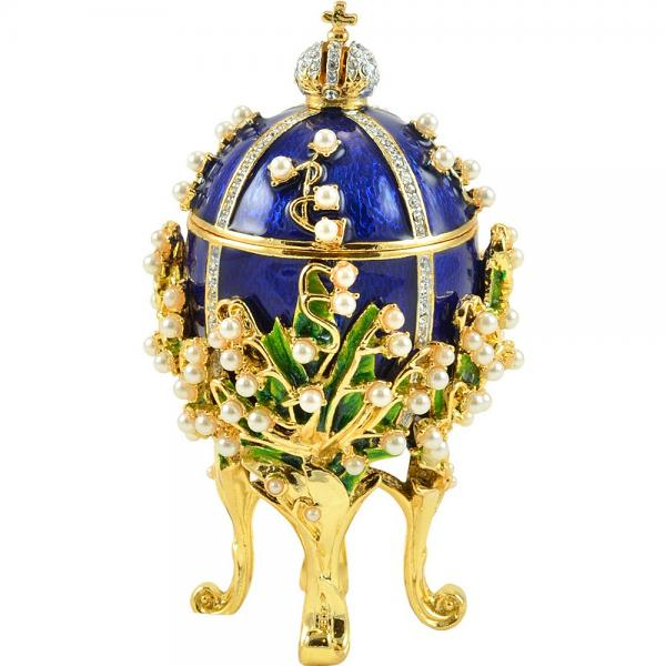"""Russian Style Small Easter Egg """"Lily of the Valley"""" with Swarovski Crystals (BLUE), 3.2"""" / 8.4 cm (HJD0870-3)"""