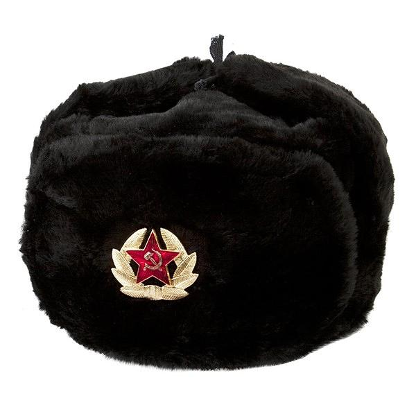 Russian Soviet Army Fur Military Cossack Ushanka Hat with Soviet Army Soldier Insignia, Black, 60/L