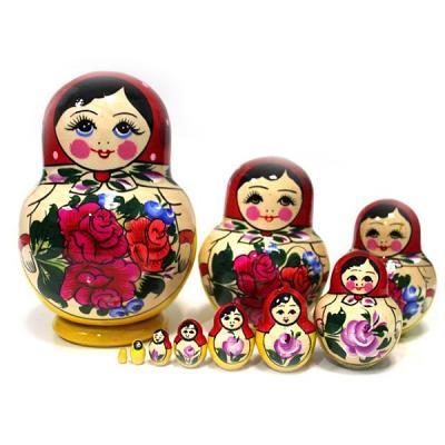 "Nesting Doll  SEMENOVSKAYA - paunchy(BIG) 10psc (H-6.5"")"