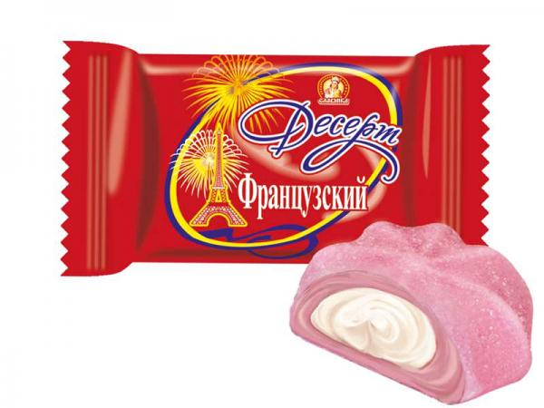 """Jelly Сandy """"French Dessert"""" with Marshmallow, Strawberry and Cream, 0.5 lb / 0.22 kg"""