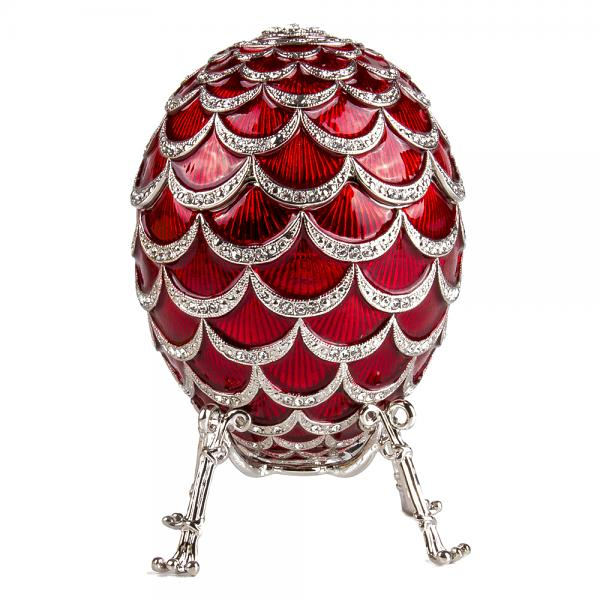 "Easter Gift Russian Style Egg ""Pine Cone"" with the Clock RED, 3.62"" / 9.2 cm (HJD1160CL)"