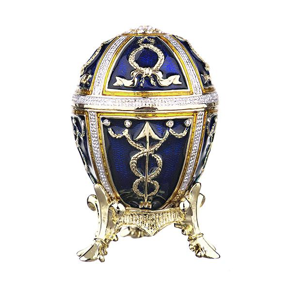Eater Gift Russian Style Easter Egg Trinket Box with Arrows BLUE, 2.5
