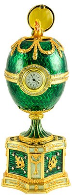 """Russian Style Egg """"Chanticleer With Clock"""" Musical Green with Swarovski Crystals, 5.5"""" / 14 cm"""