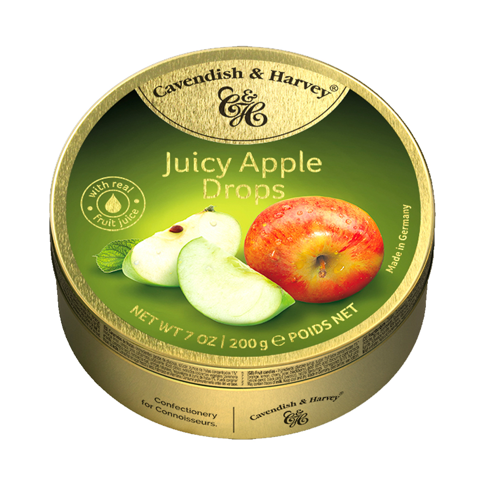 Hard Candy Drops Juicy Apple, Cavendish and Harvey, Tin Can, 200g/ 0.44 lb