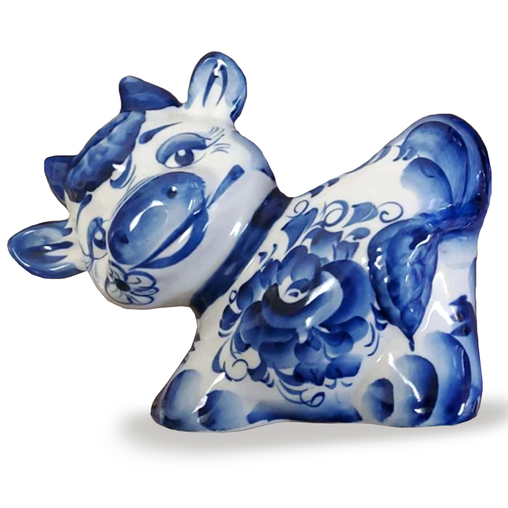 Symbol of the Year Bull Moneybox, Gzhel, 17 х 20cm/ 6.69 x 7.87 inches