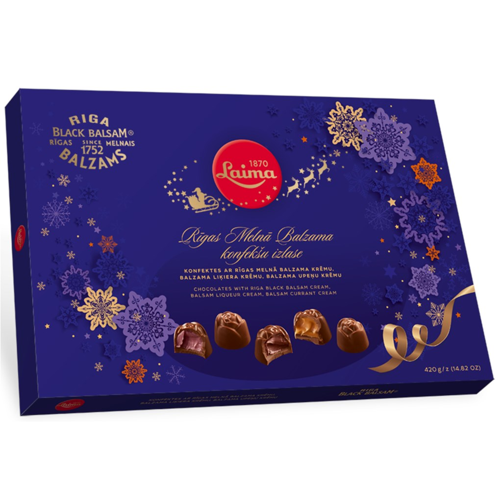 Chocolate Candies with Riga Black Balsam Liqueur Cream, Laima, 14.8 oz / 420 g