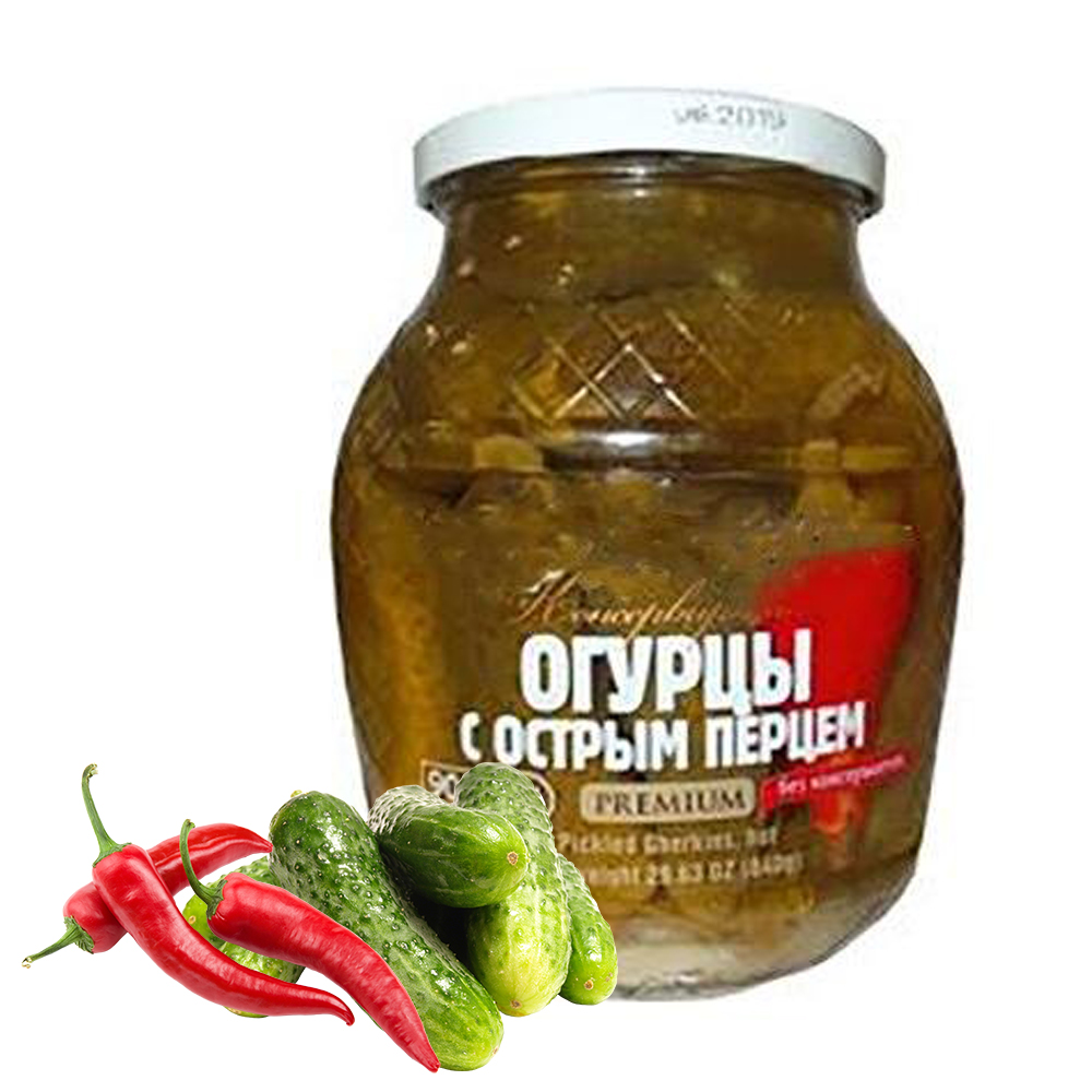 Pickled Cucumbers with Hot Pepper, Teshcha's Recipes, 1.98lb/ 900 g