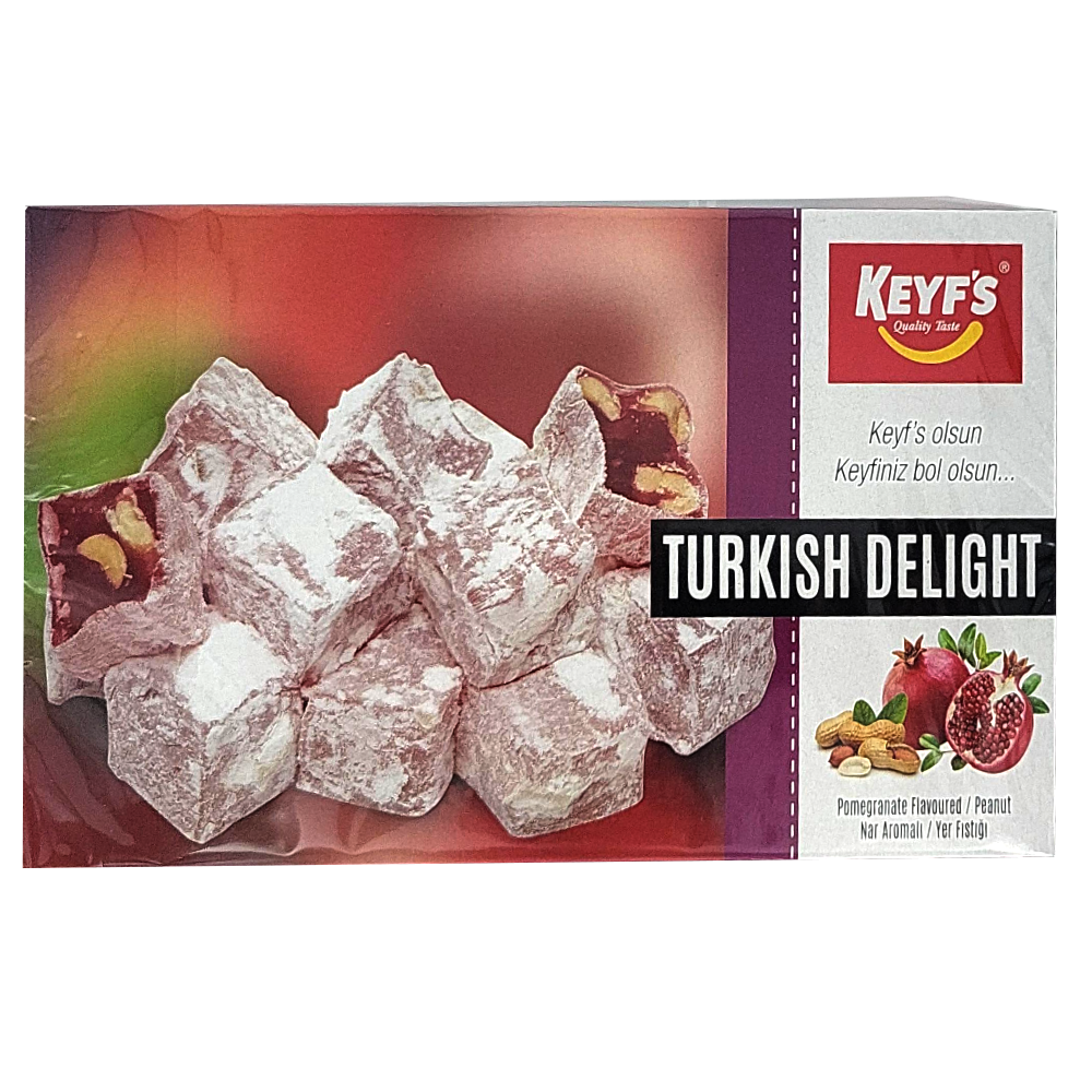 Turkish Delight, Lukum, Pomegranate and Peanuts, KEYF'S, 300 g/ 0.66 lb