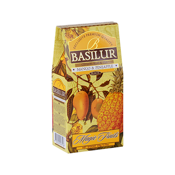 Basilur Pure Ceylon Black Tea with Papaya and Pineapple Magic Fruits Exotic, 3.52 oz / 100 g