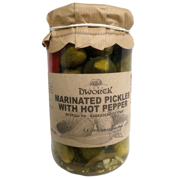 Marinated Pickles with Hot Pepper, 30.4 fl oz / 900 ml (Dworek)