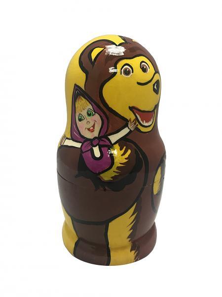 "Masha and The Bear Nesting Dolls (Yellow), 5 pcs, 6"" / 16 cm"