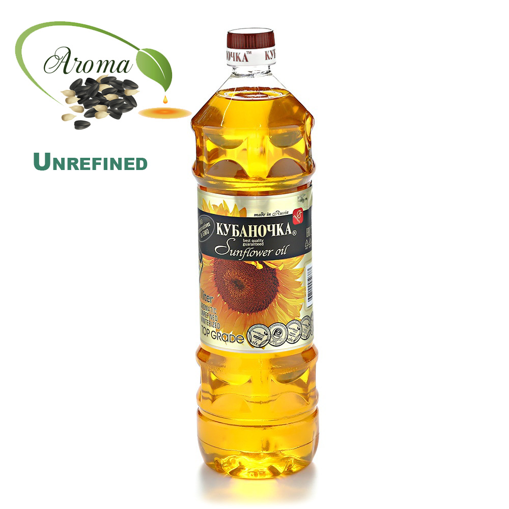 Premium Unrefined Aromatic Sunflower Oil, Kubanochka, 33.81 oz/ 1l