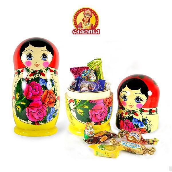 "Candy Set ""SLAVYANKA""  Placed in Matryoshka, 1 lb / 0.44 kg"