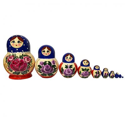"Exclusive Russian Matryoshka with Pink Roses, 10 pcs, 5.5"" / 14.5 cm"