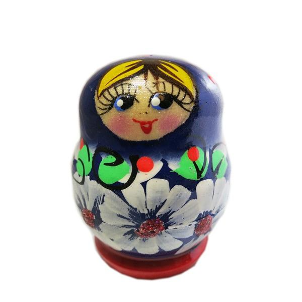 """Exquisite Small Blue Nesting Doll with Daisies, 3 pcs, 1.5"""""""