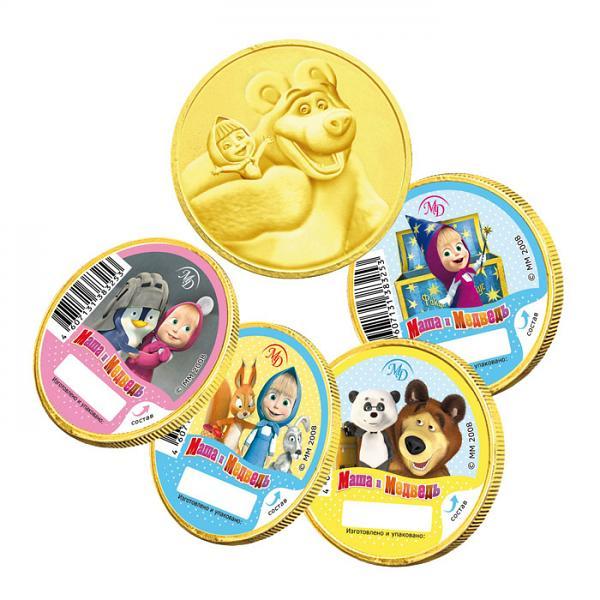 "Chocolate Medals Masha and the Bear, 0.88 oz / 25 g ""Shokoladnyi Dom"""