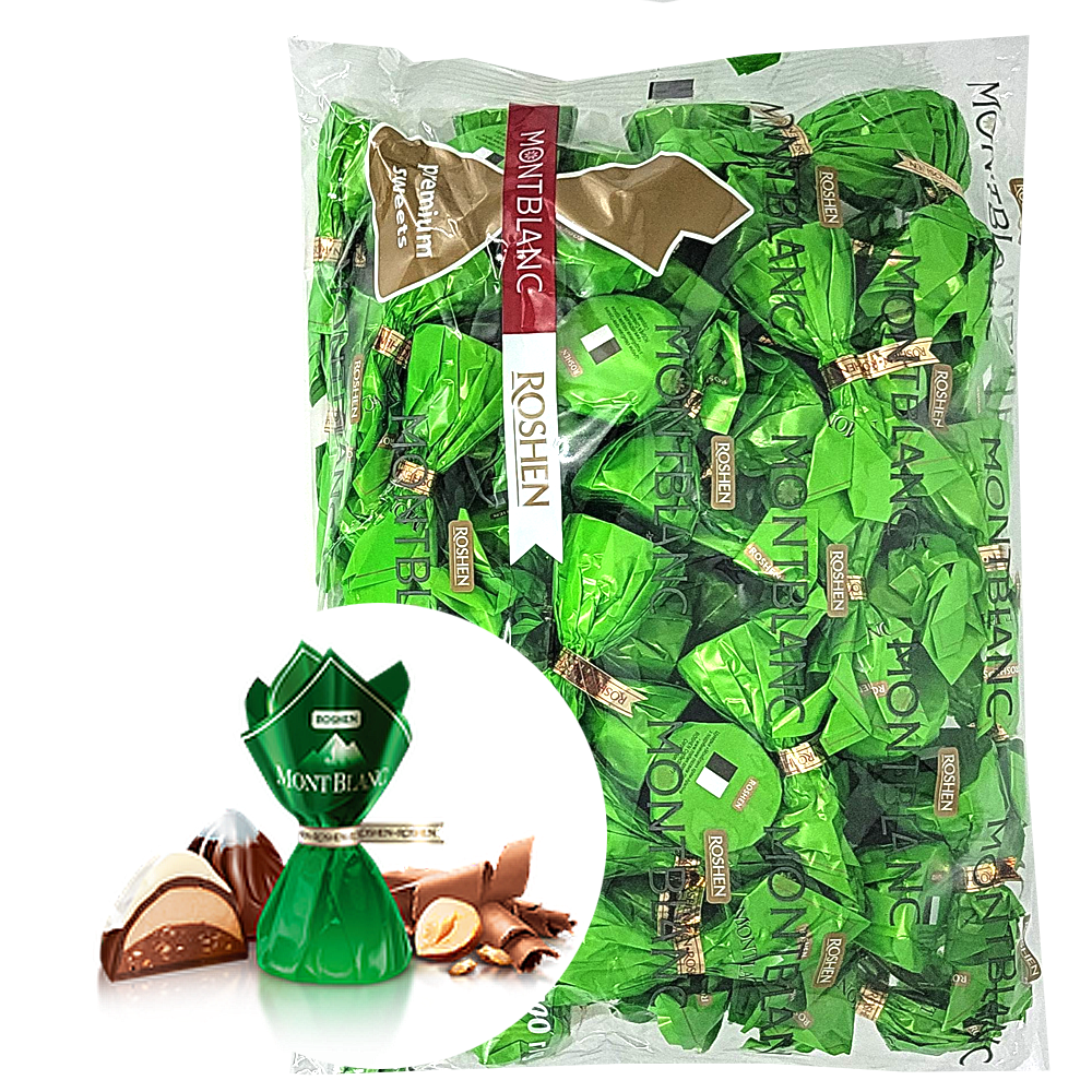 Chocolate Candies with Crushed Hazelnuts, Mont Blanc, Roshen, 1 kg/ 2.2 lb
