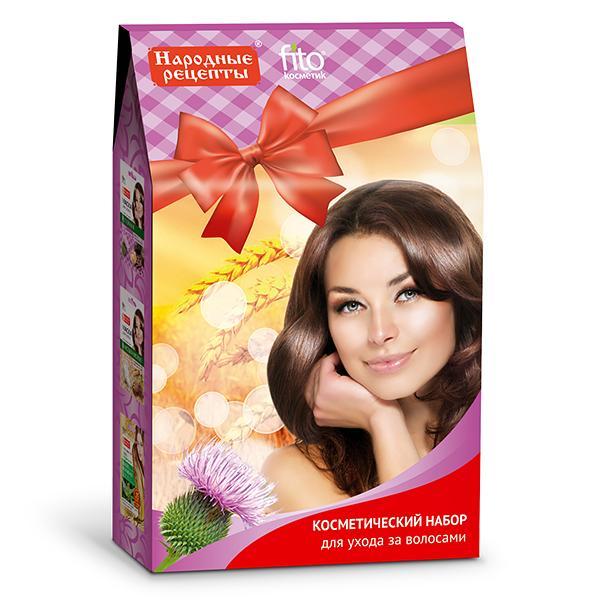 Masks Gift Set Hair Care Folk Recipes  , 2 x 1 oz (30 ml), 1 x 0.84 oz (20 ml)