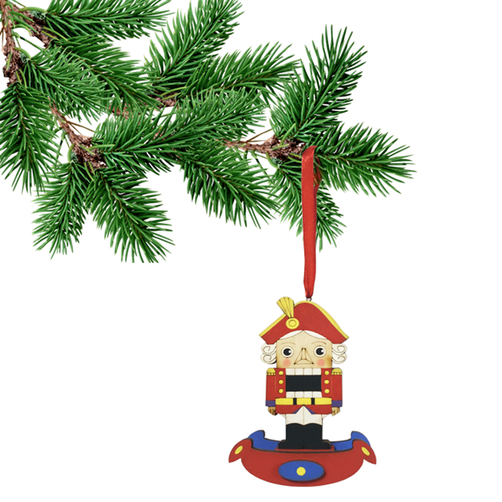 "The Nutcracker Wooden Handmade Christmas Tree Toy with a Ribon, 4"" / 11 cm"