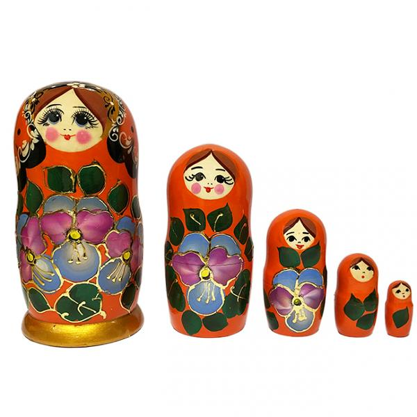 "Exclusive Russian Matryoshka with Flowers and Golden Patterns (orange), 5 pcs, 5.7"" / 15.5 cm"