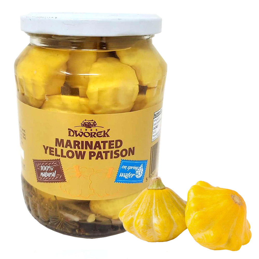 Yellow Pickled Pattypan Squash, Dworek, 1.85 lbs/ 840 g
