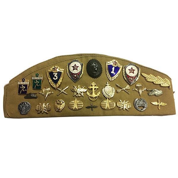 "Soviet Forage Cap ""Pilotka"" with Badges, Size 54-56"