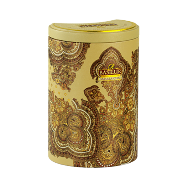 Basilur Pure Black Tea with Spices Masala Chai Oriental Collection in a Tin Caddy, 3.52 oz / 100 g