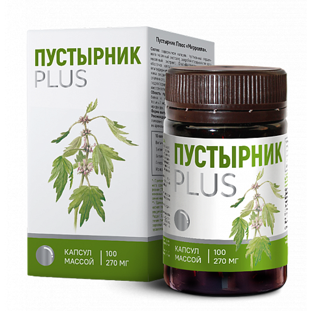 Motherwort Plus, Mirrolla, 100 capsules of 270 mg