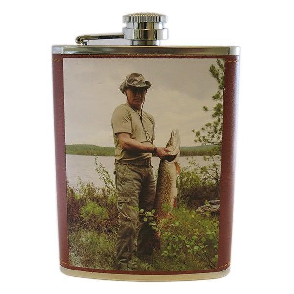 "Vladimir Putin Stainless Steel Hip Flask. Fishing for Pike (Brown), 5"", 8 oz / 236 ml"