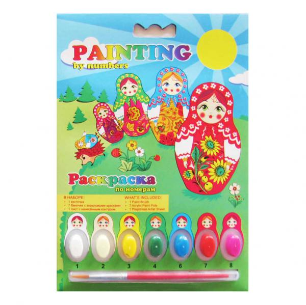 Matryoshkas and Hedgehog Painting by Numbers Coloring Kit