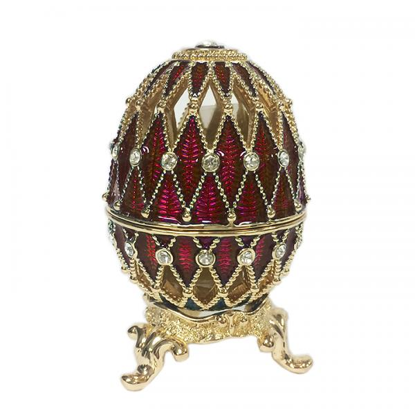 """Russian Style Egg Lacy Mesh with Crystals RED (2 rows), H 2.25"""" (HJD1052)"""