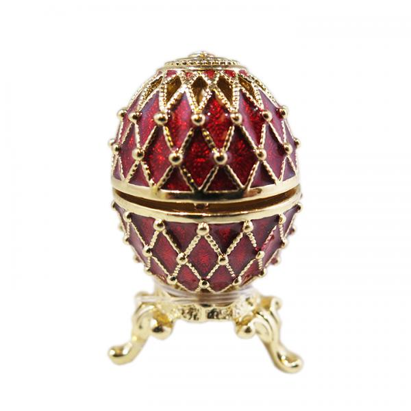 Mini Russian Style Egg with Golden Mesh Pattern (red), 1.25