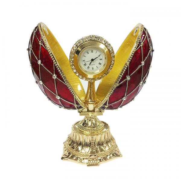"""Egg Box with the Clock Decorated with Mesh Pattern and Crystals RED, 4.5"""" / 11 cm (HJD0777+HF001)"""