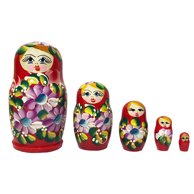 Russian Matryoshka with Pink Flowers (red), 5 pcs, 4