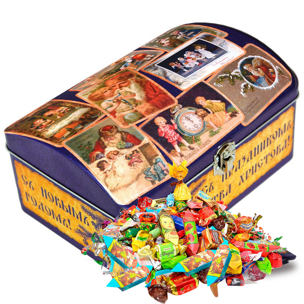 Sweet Christmas Gift Russian Candy, Retro Casket, Tin Pack, 0.9 kg/ 2 lbs