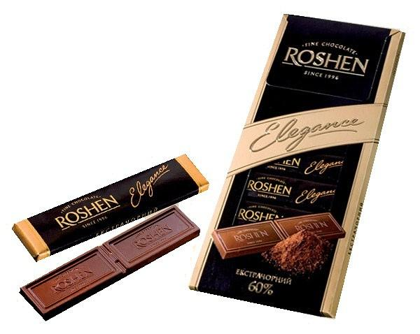 "Roshen Chocolate ""Elegance"" Extra Dark 60%, 3.52 oz/ 100 g"