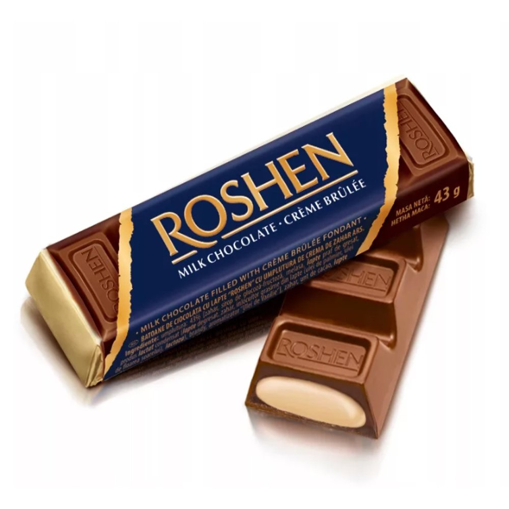 Roshen Milk Chocolate Bar with Creme Brulee Filling, 1.87 oz / 53 g
