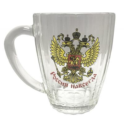 "Glass Beer Mug ""Russia Forever"", 16.9 oz / 500 ml"