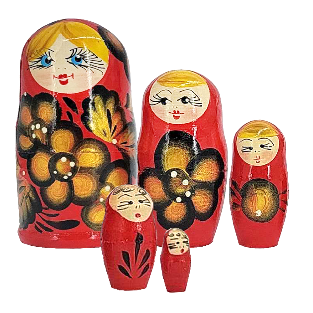 Matryoshka Red & Gold Flowers Wooden Hand-Painted Traditional Souvenir, 5 pc 4''