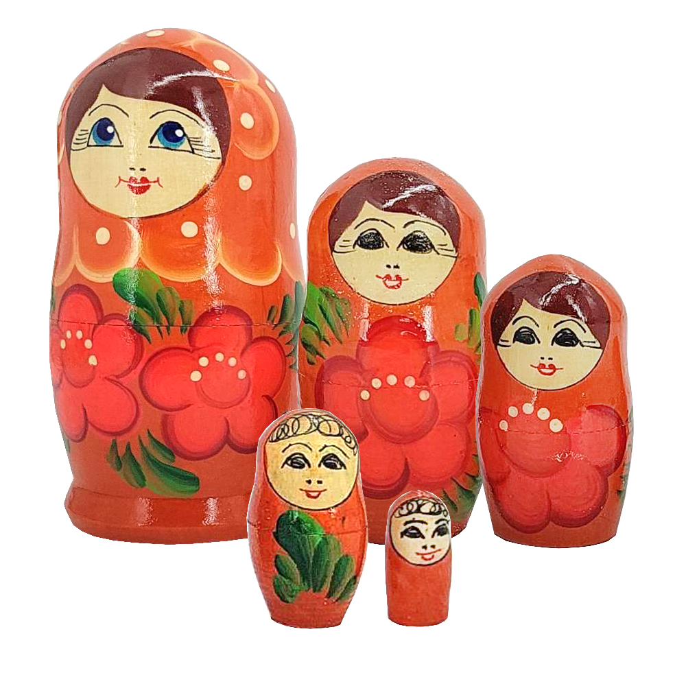 Matryoshka Coral Scarf Wooden Hand-Painted Traditional Souvenir, 5 pc 4''