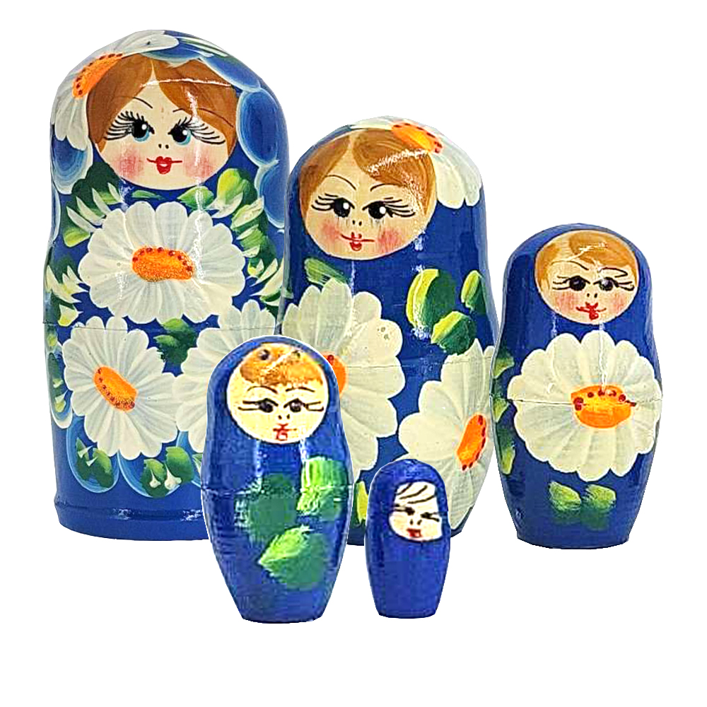Matryoshka Blue with Daisies Wooden Hand-Painted Traditional Souvenir, 5 pc 4''