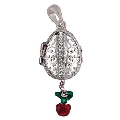 """Locket Pendant Grapes with an Apple (white), 1"""" (1214-3207)"""