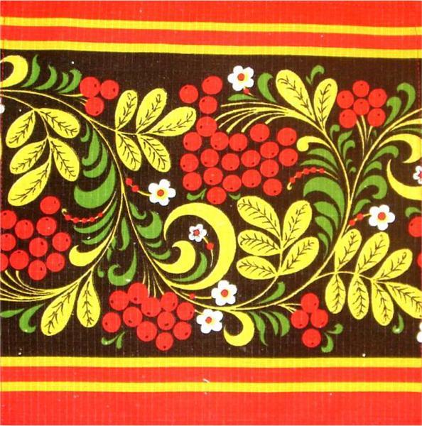 Khokhloma Souvenir Towel - A06001, design #1