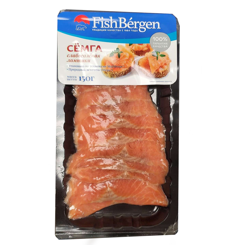 Lightly Salted Salmon, Sliced, Fish Bergen, 0.33 lb/ 150 gr