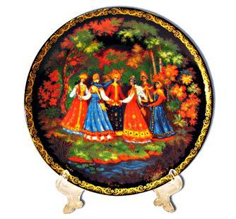 "Decorative Plate ""Runaround"" Palekh, 20 cm"