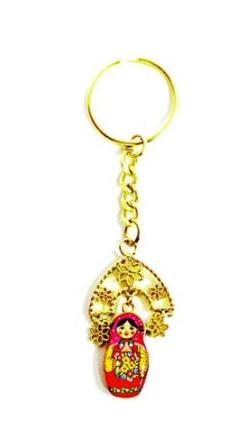 "Metal Keychain ""Matryoshka with Flowers"" (Nesting Doll)"