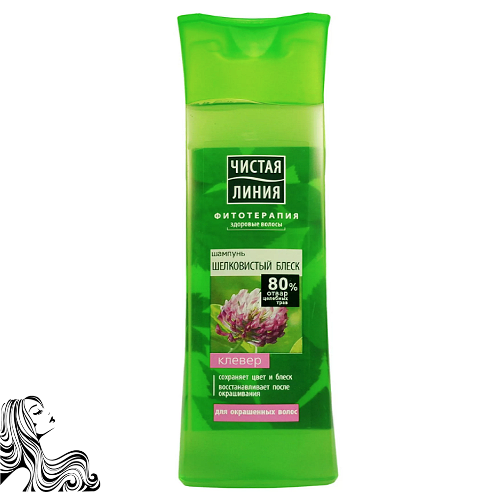 Shampoo Silky Shine for Colored Hair, Clover, Pure Line, 13.52 oz/ 400 Ml