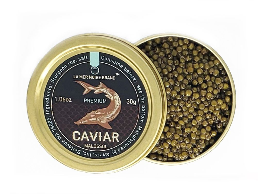 Premium Quality Osetra Sturgeon Black Caviar, Malossol, 30 g/ 0.066 lb